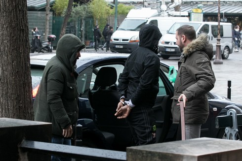 PARIS, FRANCE - JANUARY 09: A suspect in Kim Kardashian West's Paris robbery is brought to BRB building, Brigade de Repression du Banditisme (suppression of banditry brigade) on January 9, 2017 in Paris, France. (Photo by Marc Piasecki/Getty Images)