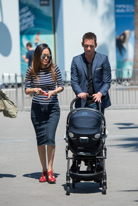 UNIVERSAL CITY, CA - MAY 23: Jonathan Rhys Meyers (R) and Mara Lane push a stroller carrying their son Wolf Rhys Meyers at
