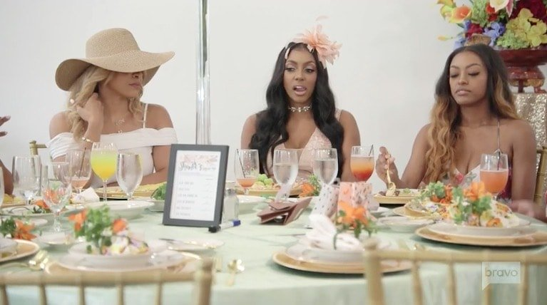 after the games the famished ladies gathered around the table for a lunch of feasting on each other which meant shamea ripping into porsha about her