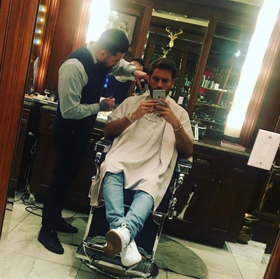 Scott Disick At The Barber